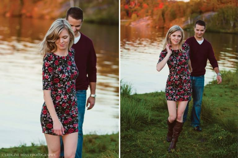 flower dress couple in woods by lake