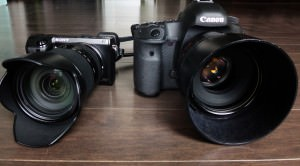 Canon and Sony cameras side by side