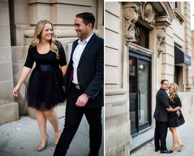 Classy engagement in front of old buildings