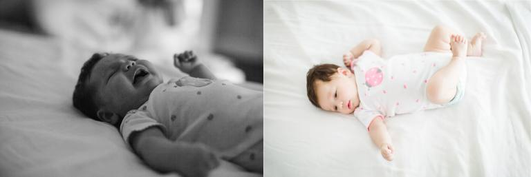 baby on bed white linens