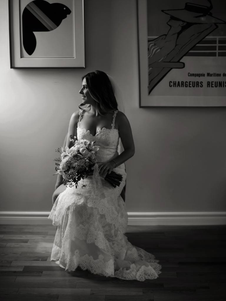 Valenciennes wedding dress in black and white