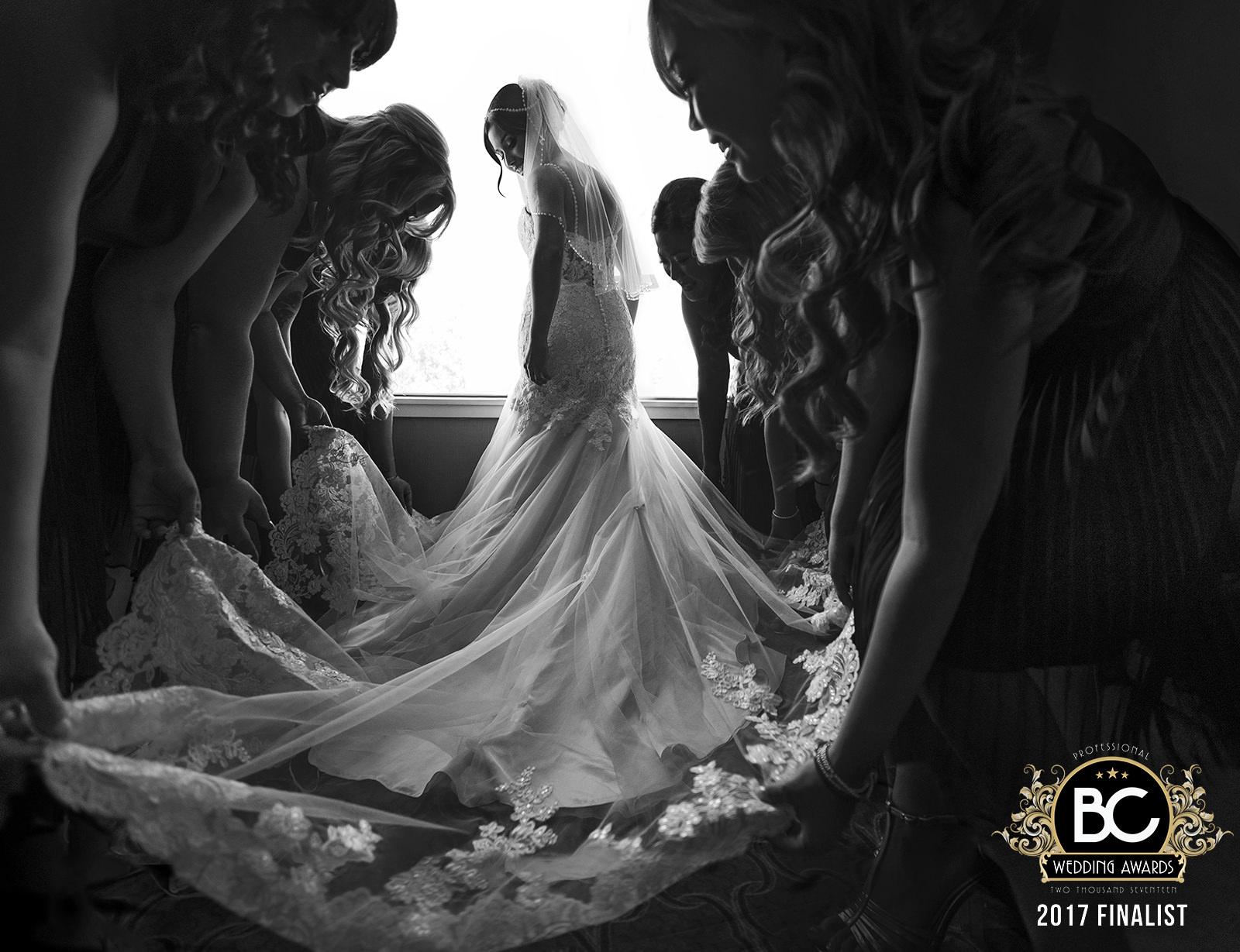 BC wedding awards finalist detail shot bride backlit by window